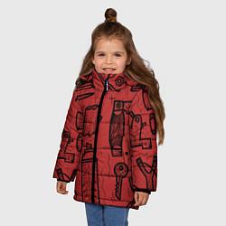 Детская зимняя куртка для девочки с принтом Инструменты мужика, цвет: 3D-черный, артикул: 10158125706065 — фото 2