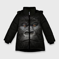 Детская зимняя куртка для девочки с принтом Морда Гориллы, цвет: 3D-черный, артикул: 10161070506065 — фото 1