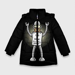 Куртка зимняя для девочки Kill All Humans цвета 3D-черный — фото 1