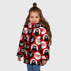 Детская зимняя куртка для девочки с принтом Kumamon Pattern, цвет: 3D-черный, артикул: 10162550706065 — фото 2