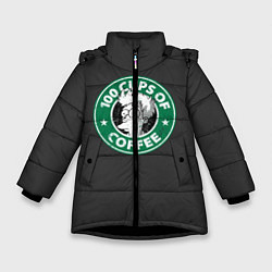 Куртка зимняя для девочки 100 cups of coffee цвета 3D-черный — фото 1