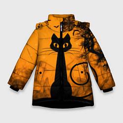 Куртка зимняя для девочки Halloween Cat цвета 3D-черный — фото 1