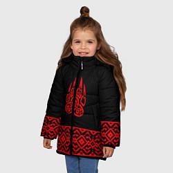 Куртка зимняя для девочки Печать Велеса цвета 3D-черный — фото 2