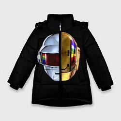 Детская зимняя куртка для девочки с принтом Daft Punk: Smile Helmet, цвет: 3D-черный, артикул: 10171252106065 — фото 1