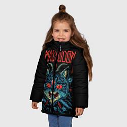 Детская зимняя куртка для девочки с принтом Mastodon: Demonic Cat, цвет: 3D-черный, артикул: 10172767106065 — фото 2
