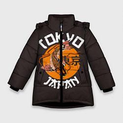 Детская зимняя куртка для девочки с принтом Tokyo, Japan, цвет: 3D-черный, артикул: 10173433506065 — фото 1
