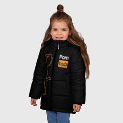 Детская зимняя куртка для девочки с принтом PornHub: Neon Girl, цвет: 3D-черный, артикул: 10174314906065 — фото 2