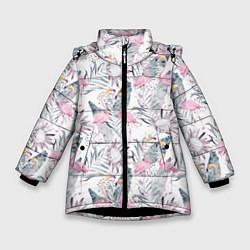 Куртка зимняя для девочки Тропические фламинго цвета 3D-черный — фото 1