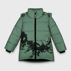 Куртка зимняя для девочки Черные кони цвета 3D-черный — фото 1