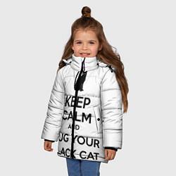 Куртка зимняя для девочки Обними своего черного кота цвета 3D-черный — фото 2