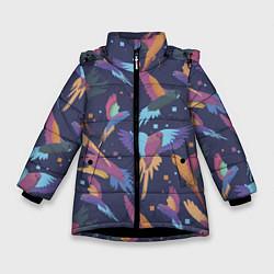 Куртка зимняя для девочки Райские попугаи цвета 3D-черный — фото 1