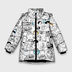 Куртка зимняя для девочки МЕМЫ цвета 3D-черный — фото 1