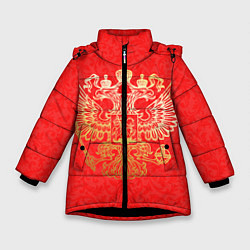 Куртка зимняя для девочки Герб цвета 3D-черный — фото 1