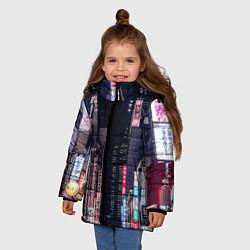 Куртка зимняя для девочки Ночной Токио цвета 3D-черный — фото 2