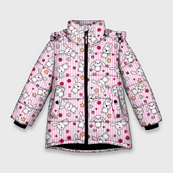 Куртка зимняя для девочки Зайчики цвета 3D-черный — фото 1