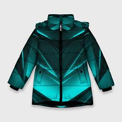 Куртка зимняя для девочки NEON GEOMETRY STRIPES цвета 3D-черный — фото 1