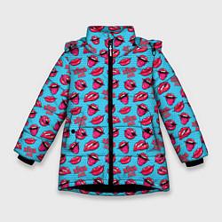 Куртка зимняя для девочки Губы Поп-арт - фото 1