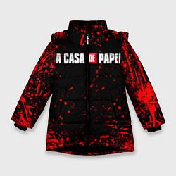 Куртка зимняя для девочки La Casa de Papel спина Z цвета 3D-черный — фото 1