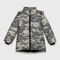 Куртка зимняя для девочки Цифровой камуфляж цвета 3D-черный — фото 1