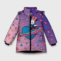 Детская зимняя куртка для девочки с принтом Минни Маус, цвет: 3D-черный, артикул: 10250063506065 — фото 1