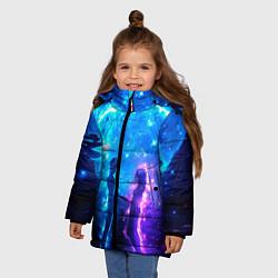 Куртка зимняя для девочки Внеземная пара луна ночь цвета 3D-черный — фото 2