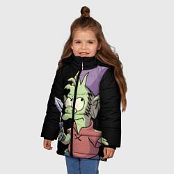 Куртка зимняя для девочки ЭЛФО цвета 3D-черный — фото 2