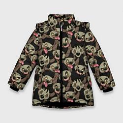 Куртка зимняя для девочки Африканские Гиены цвета 3D-черный — фото 1