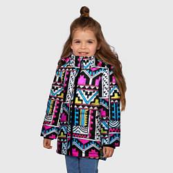 Куртка зимняя для девочки Ацтеки цвета 3D-черный — фото 2