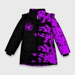 Куртка зимняя для девочки ПРОКЛЯТАЯ ПЕЧАТЬ САСКЕ цвета 3D-черный — фото 1