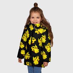 Куртка зимняя для девочки Веселый пикачу цвета 3D-черный — фото 2