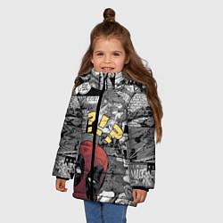 Детская зимняя куртка для девочки с принтом Deadpool, цвет: 3D-черный, артикул: 10275016106065 — фото 2