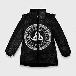 Куртка зимняя для девочки Рог Одина цвета 3D-черный — фото 1