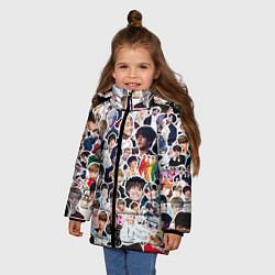 Куртка зимняя для девочки BTS Sticker Bombing цвета 3D-черный — фото 2