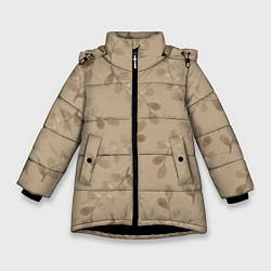 Куртка зимняя для девочки Листья на бежевом фоне цвета 3D-черный — фото 1