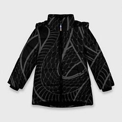 Куртка зимняя для девочки Змеи цвета 3D-черный — фото 1