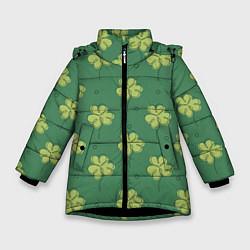 Куртка зимняя для девочки Узор на День святого Патрика цвета 3D-черный — фото 1
