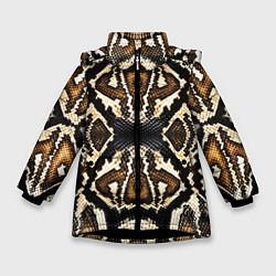 Куртка зимняя для девочки Шкура Питона цвета 3D-черный — фото 1