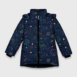 Куртка зимняя для девочки Созвездия цвета 3D-черный — фото 1