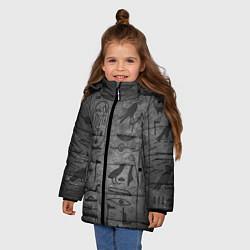 Куртка зимняя для девочки Египетские Иероглифы 3D цвета 3D-черный — фото 2