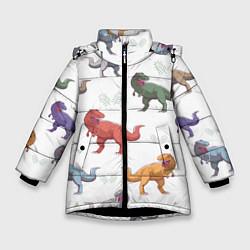 Куртка зимняя для девочки Разноцветные тираннозавры цвета 3D-черный — фото 1