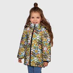 Куртка зимняя для девочки Покерные Фишки цвета 3D-черный — фото 2