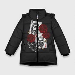 Куртка зимняя для девочки Карты цвета 3D-черный — фото 1