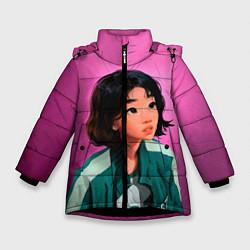 Куртка зимняя для девочки 067 игра в кальмара цвета 3D-черный — фото 1