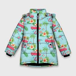 Куртка зимняя для девочки Путешествие хиппи цвета 3D-черный — фото 1