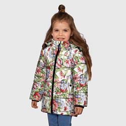 Детская зимняя куртка для девочки с принтом Цветы, цвет: 3D-черный, артикул: 10063853306065 — фото 2