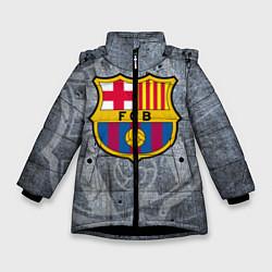 Детская зимняя куртка для девочки с принтом Barcelona, цвет: 3D-черный, артикул: 10063906106065 — фото 1