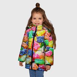 Детская зимняя куртка для девочки с принтом Мармеладные мишки, цвет: 3D-черный, артикул: 10065067406065 — фото 2