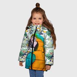 Куртка зимняя для девочки Летний попугай цвета 3D-черный — фото 2