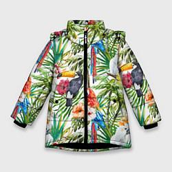 Детская зимняя куртка для девочки с принтом Попугаи в тропиках, цвет: 3D-черный, артикул: 10065274406065 — фото 1