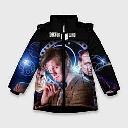 Детская зимняя куртка для девочки с принтом Одиннадцатый Доктор, цвет: 3D-черный, артикул: 10065373106065 — фото 1
